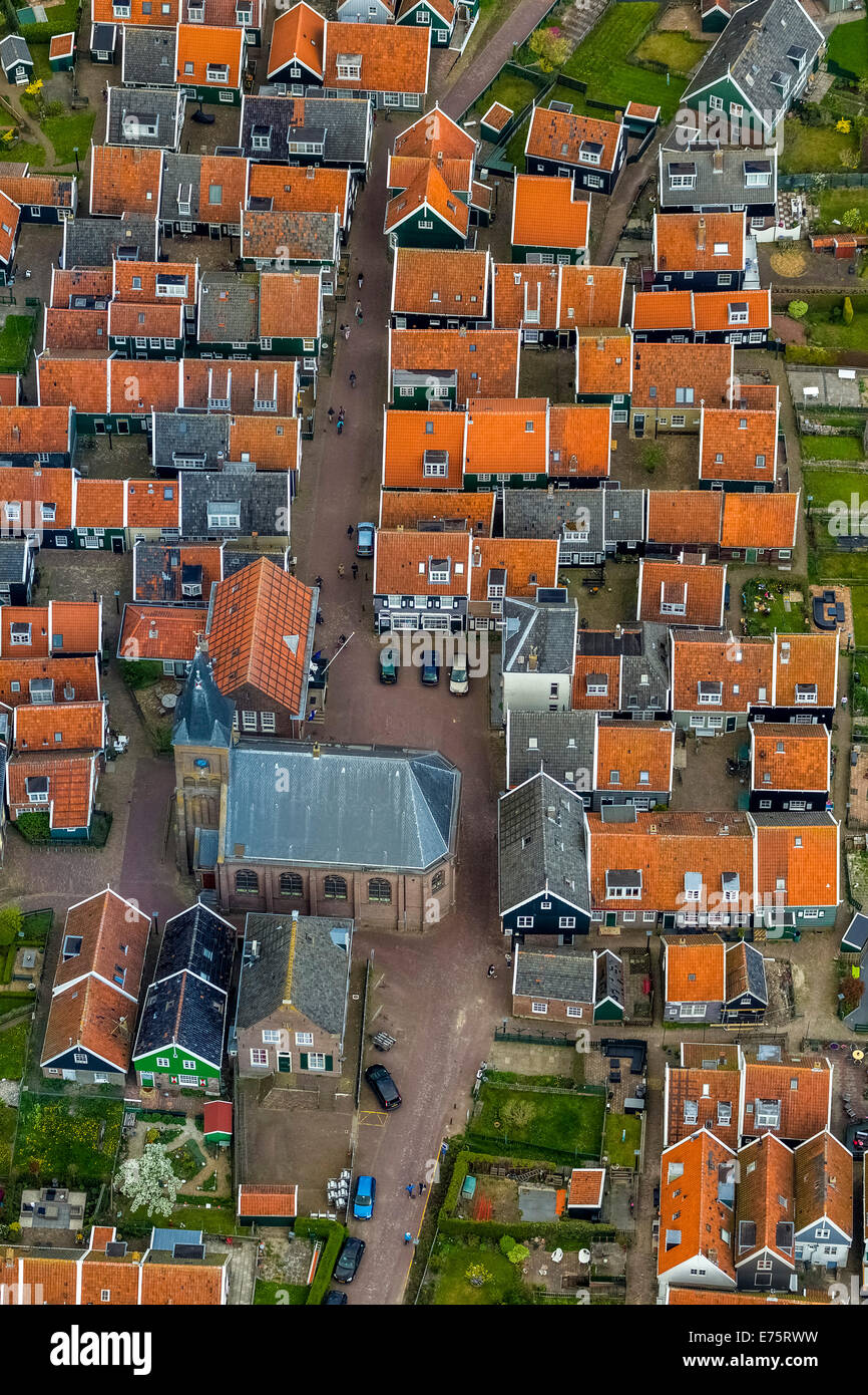 Aerial view, fishermen's houses on the Marken peninsula, Province of North-Holland, Netherlands Stock Photo