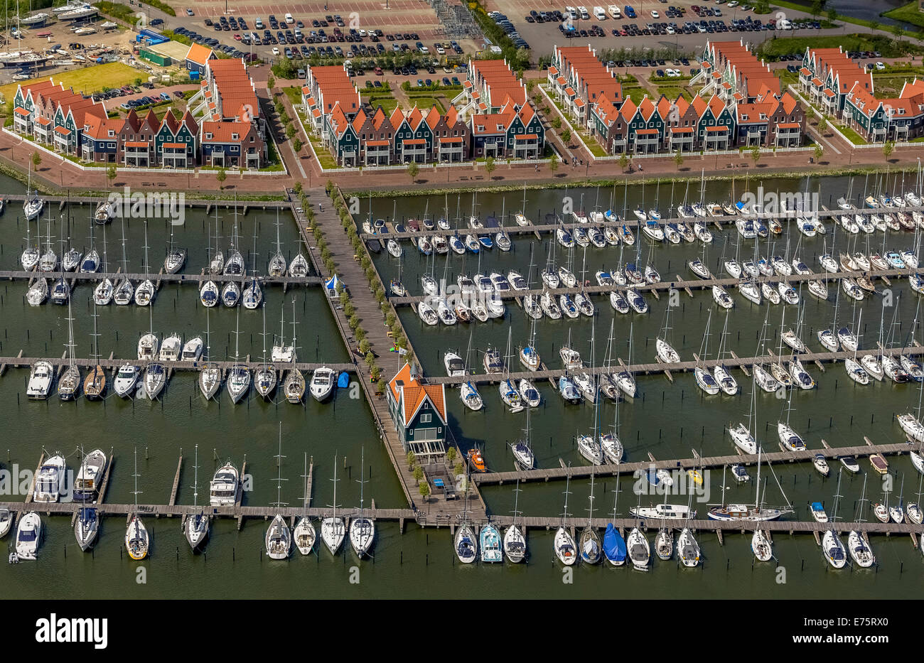 Aerial view, harbour on Markermeer lake, Volendam, Province of North Holland, Netherlands Stock Photo