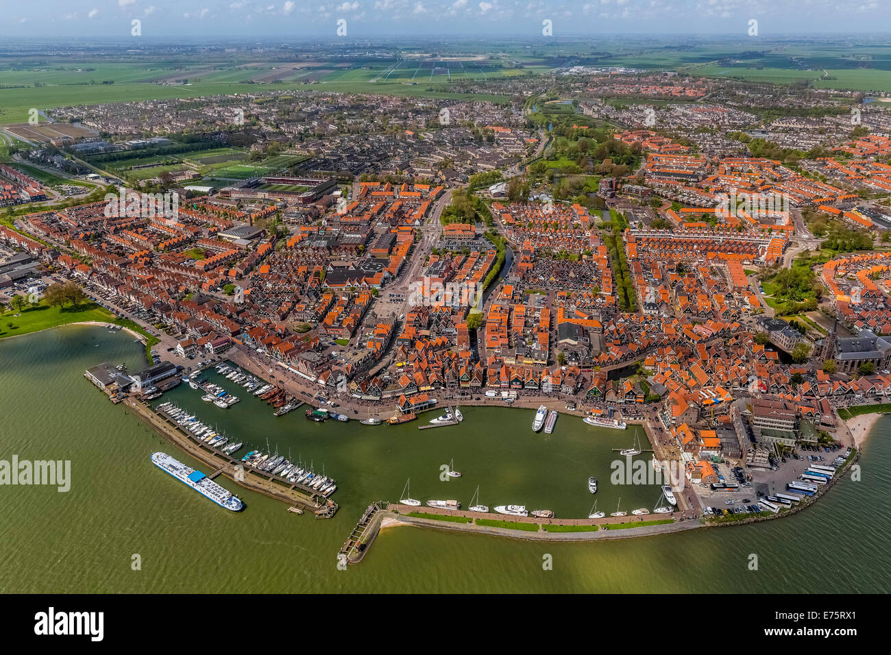 Aerial view, Volendam with harbour at Markermeer lake, Volendam, Province of North Holland, Netherlands Stock Photo