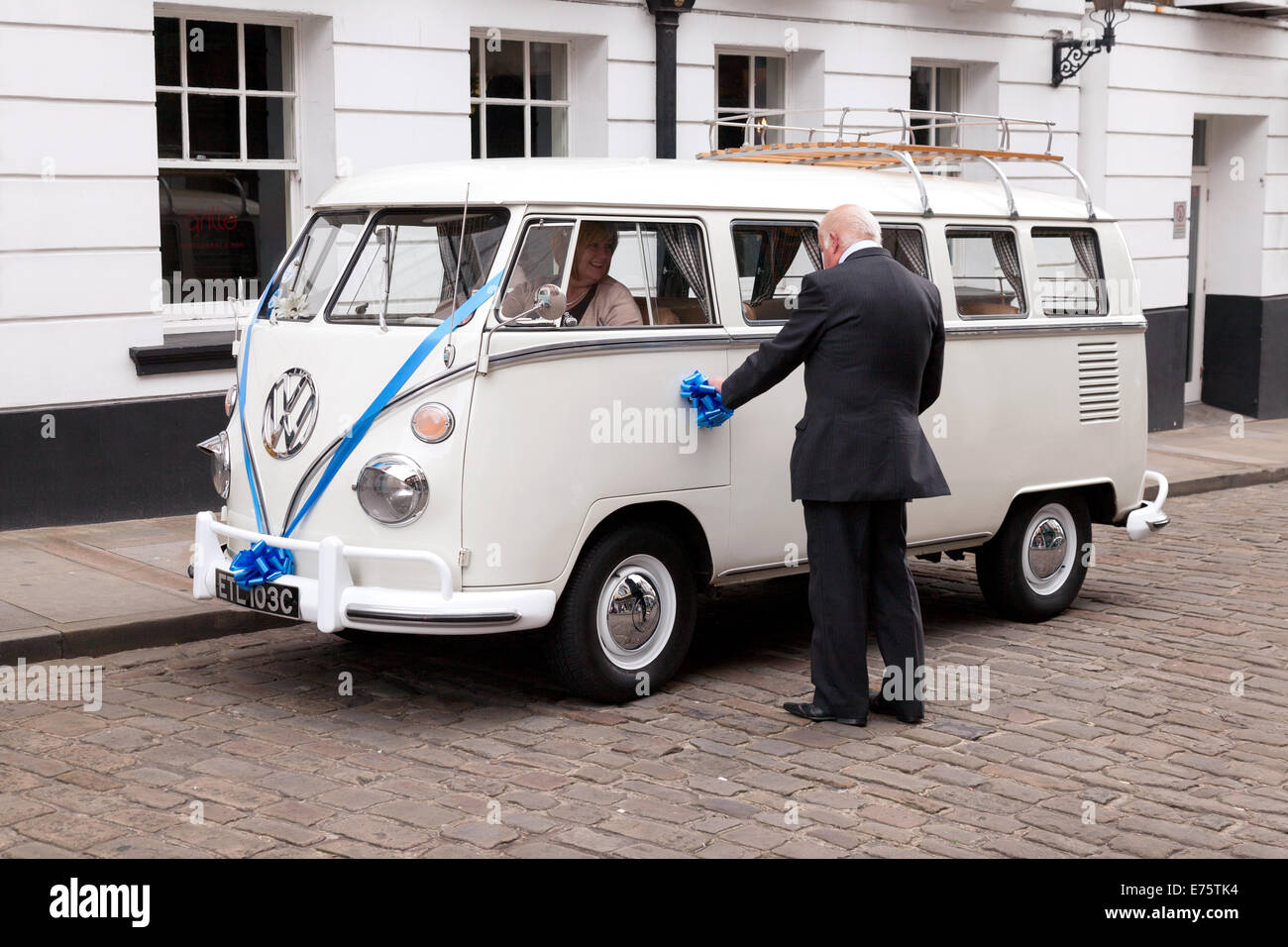 A VW camper van being used as a wedding car; Lincoln UK - Stock Image