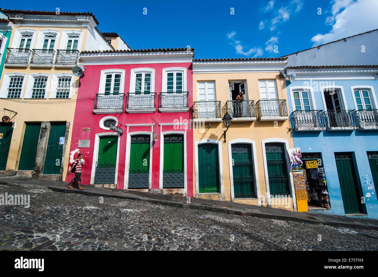 Colonial architecture in the Pelourinho, Salvador da Bahia, Brazil Stock Photo