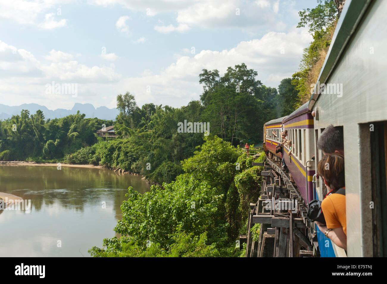 Historic railroad, train crossing the wooden bridge, railway