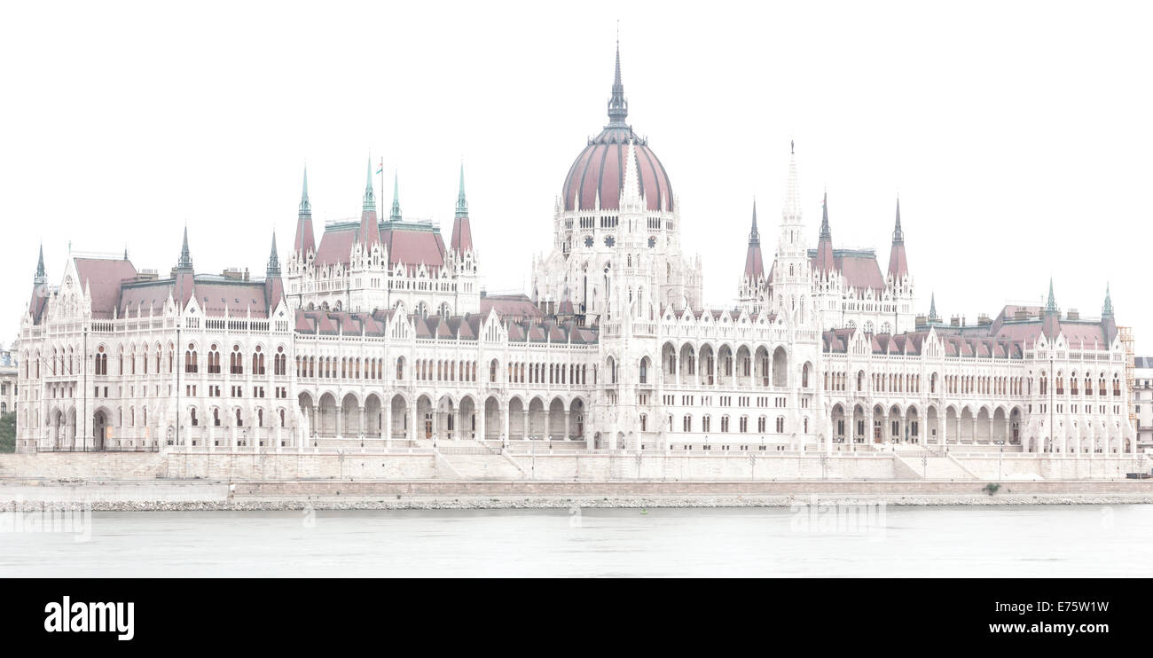 Parliament building, high key, Budapest, Hungary - Stock Image