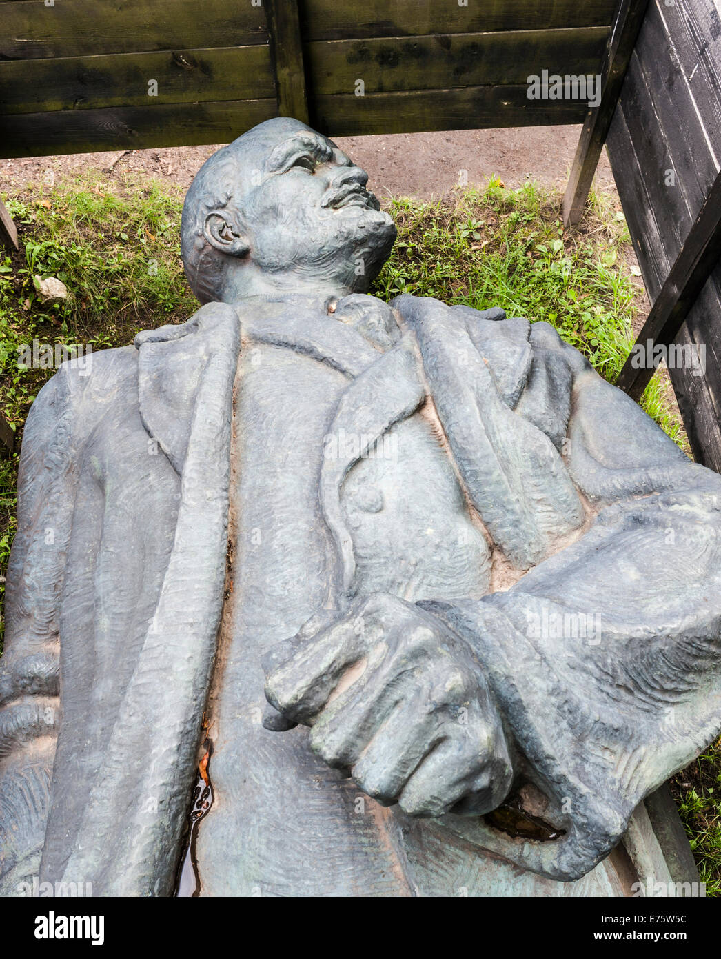 Monument to Lenin, 1959, dismantled in 1990, symbolically put into a wooden box, permanent presentation, Cesis, - Stock Image