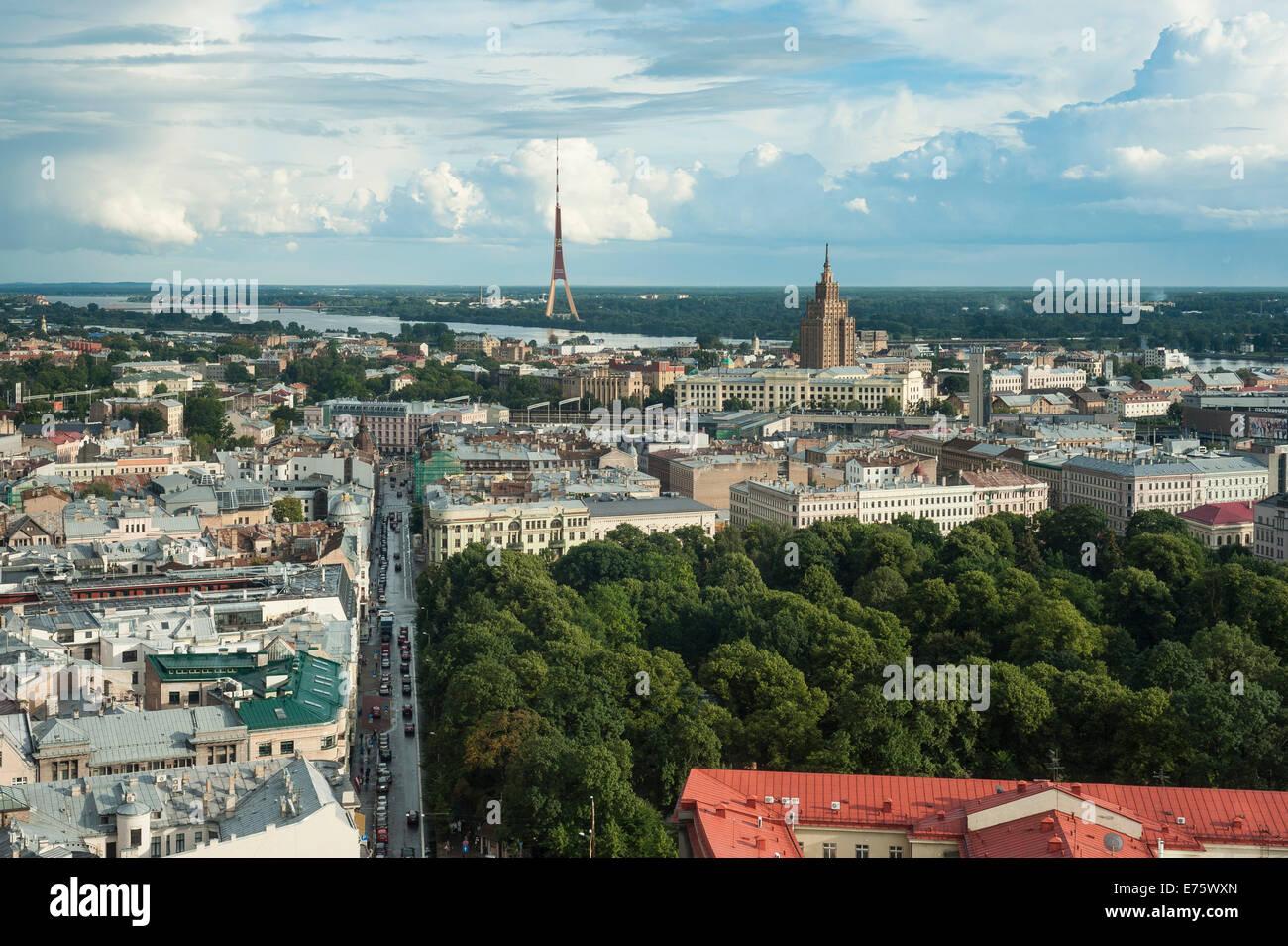 View from Hotel Latvia across Riga, Centrs, Riga, Rīga pilsēta, Latvia - Stock Image