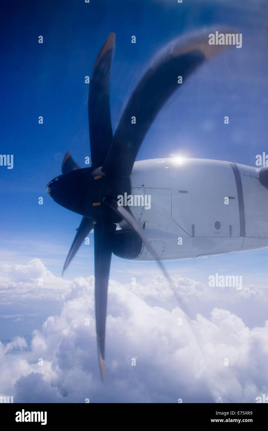 Turboprop aircraft ATR 72-500, in flight, Asia - Stock Image