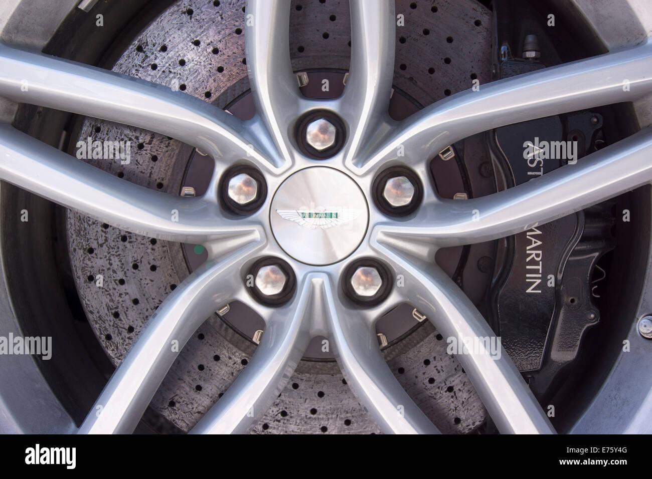 Wheel rim with a carbon brake disc, Aston Martin DB9, 2012 model - Stock Image