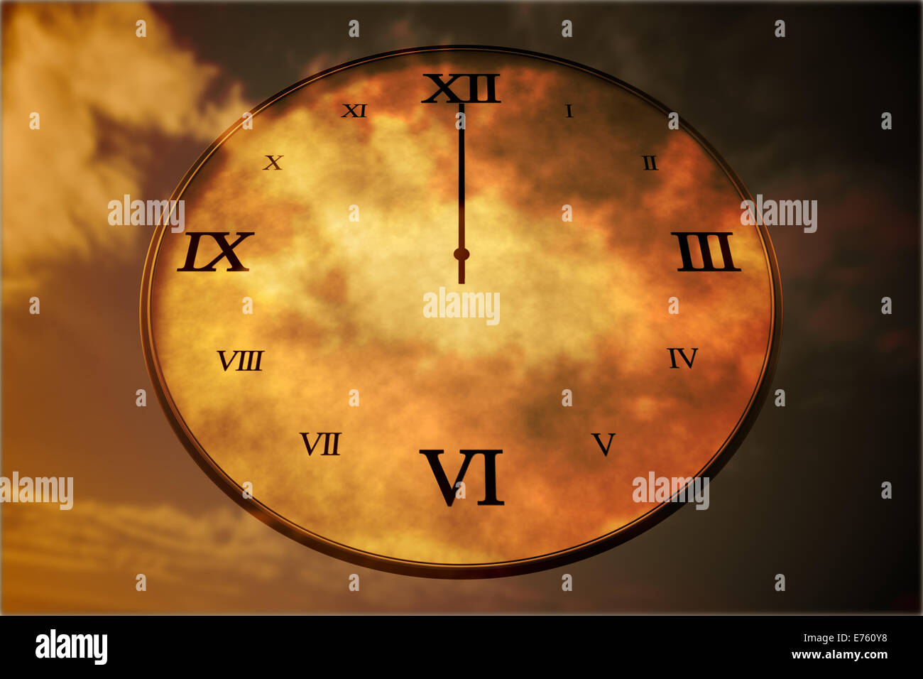 Digitally generated roman numeral clock - Stock Image