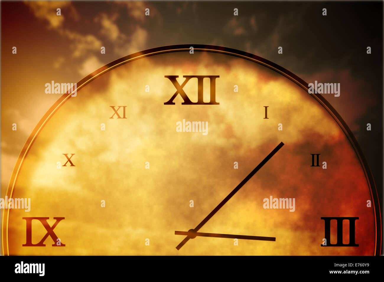 Digitally generated roman numeral clock - Stock Image