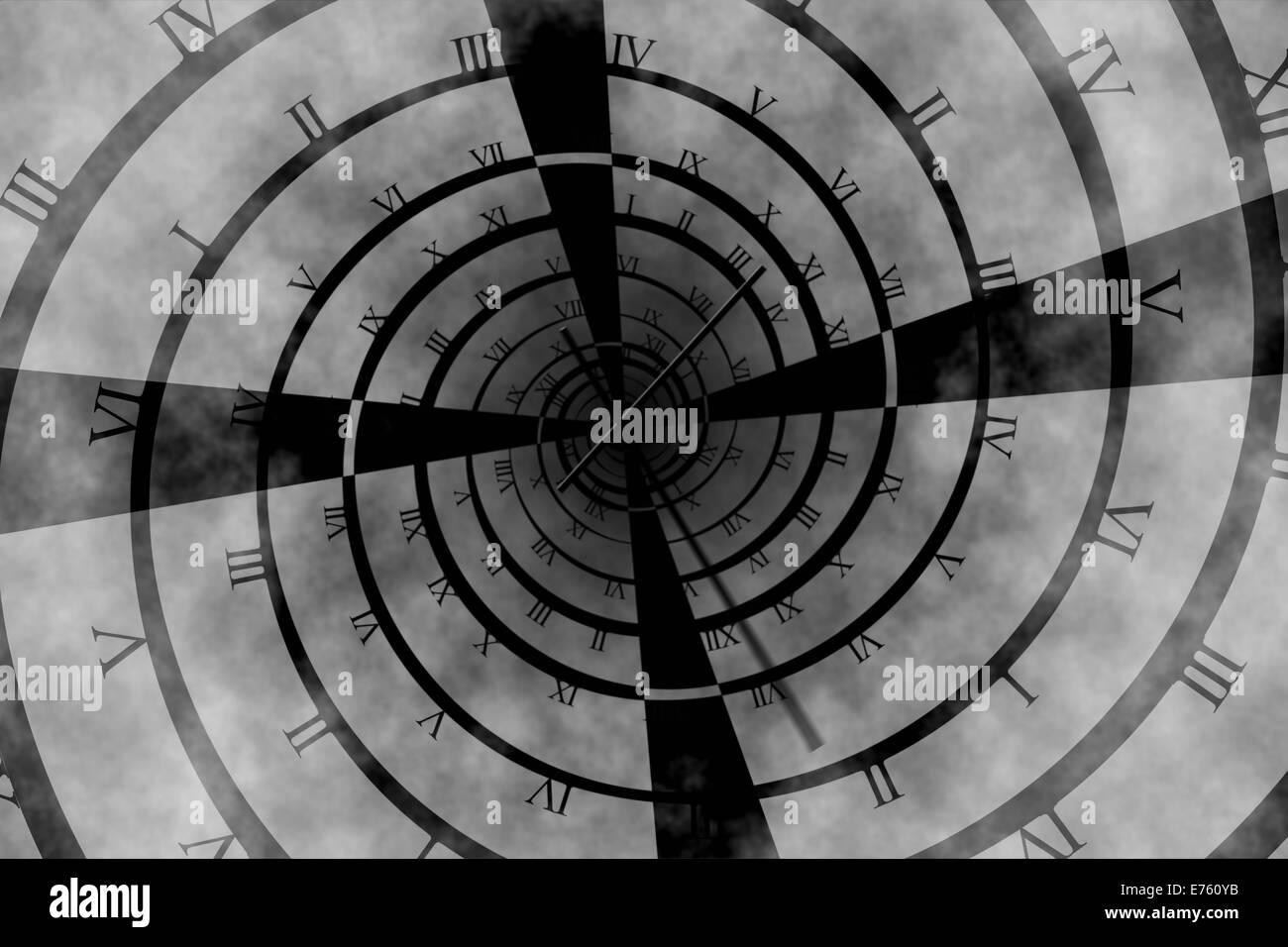 Digitally generated roman numeral clock vortex - Stock Image
