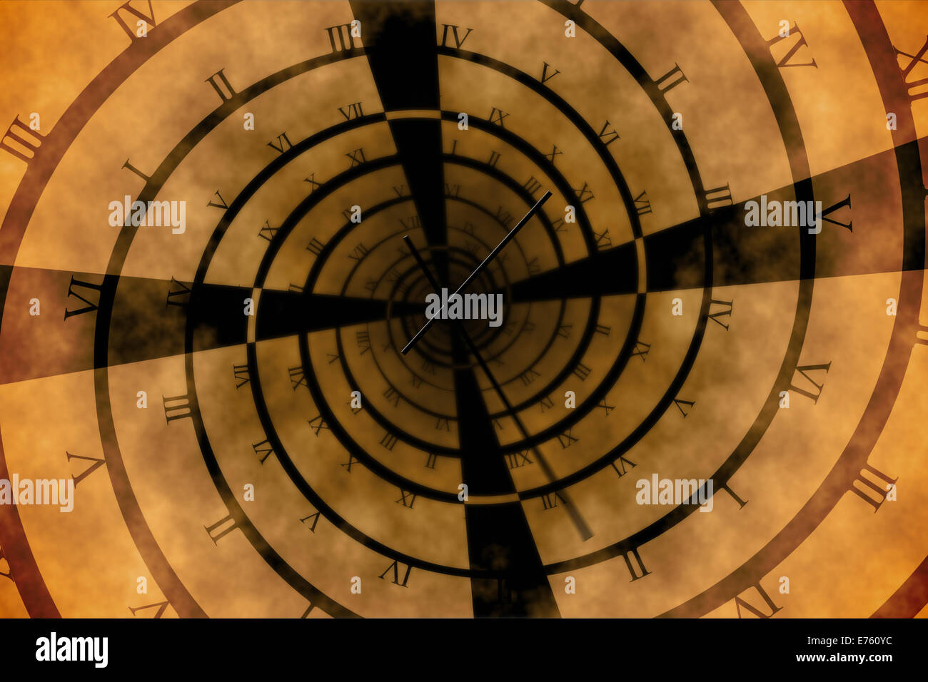 Digitally generated roman numeral clock vortex - Stock Image