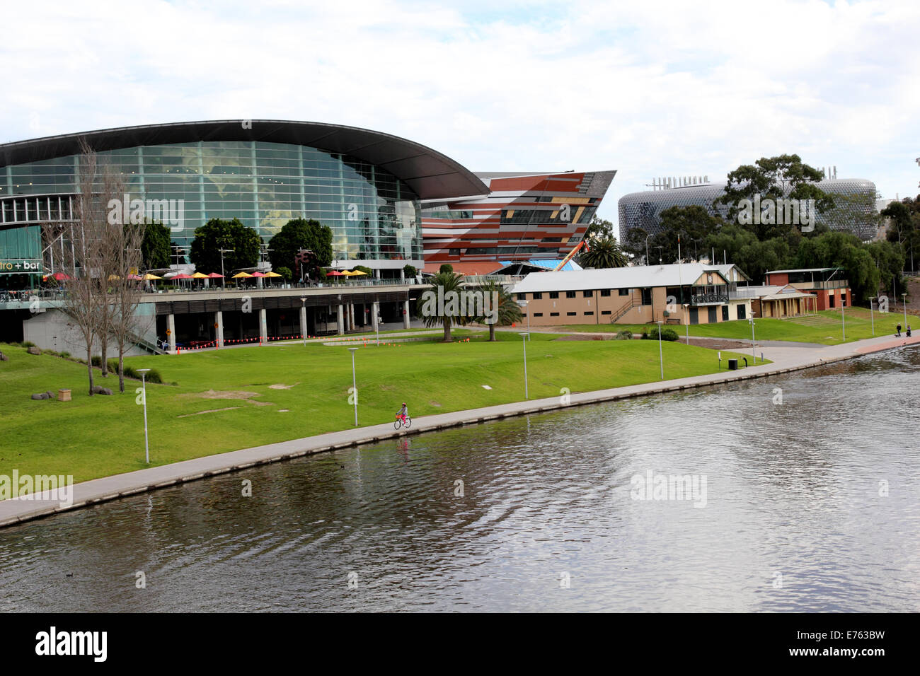 The Convention Centre along the River Torrens and the SAHMRI building on the right in Adelaide Australia - Stock Image