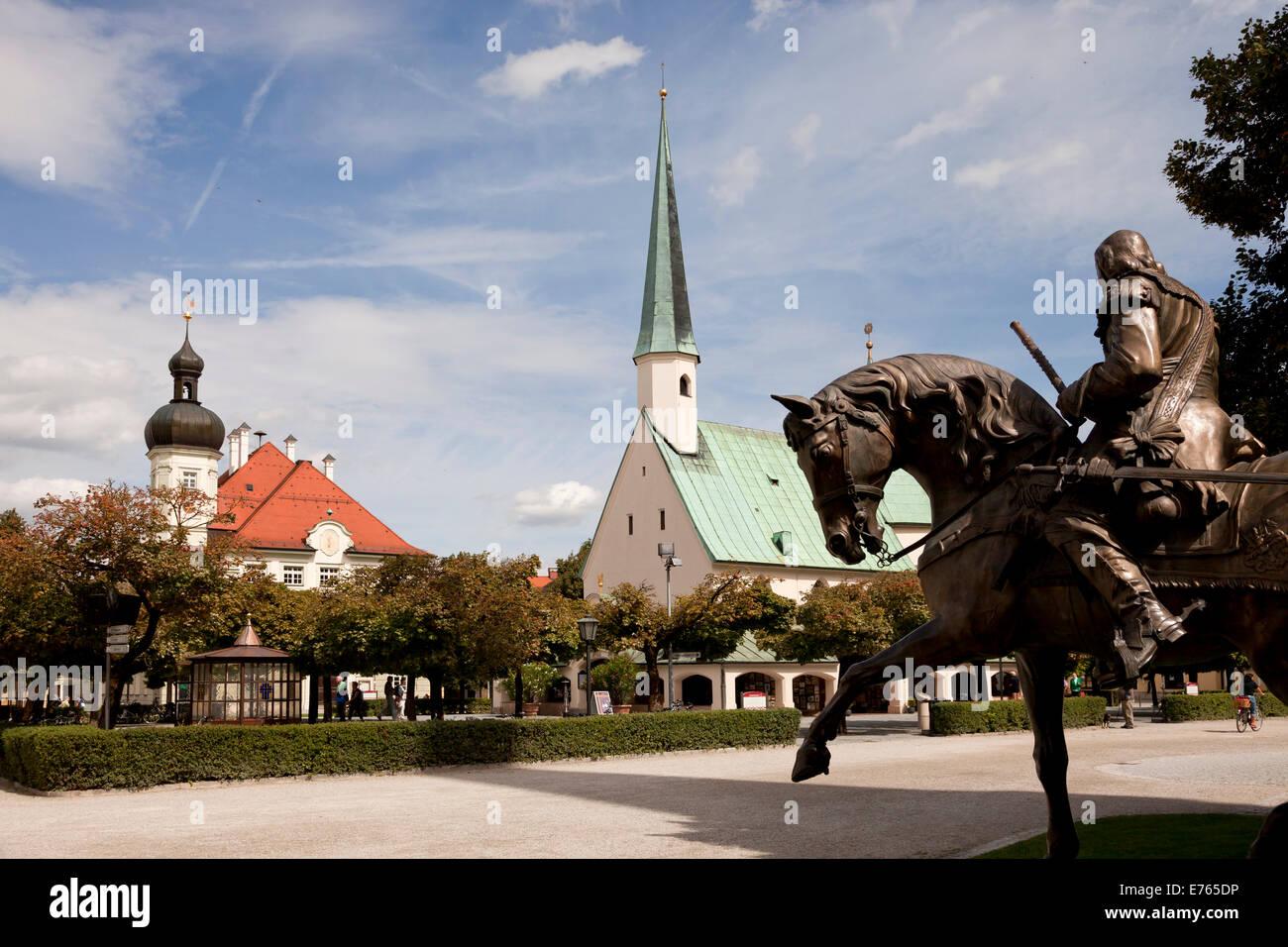 Feldmarschall-Tilly monument, the Chapel of Grace and Town Hall on Kapellplatz square in Altoetting, Upper-Bavaria, - Stock Image