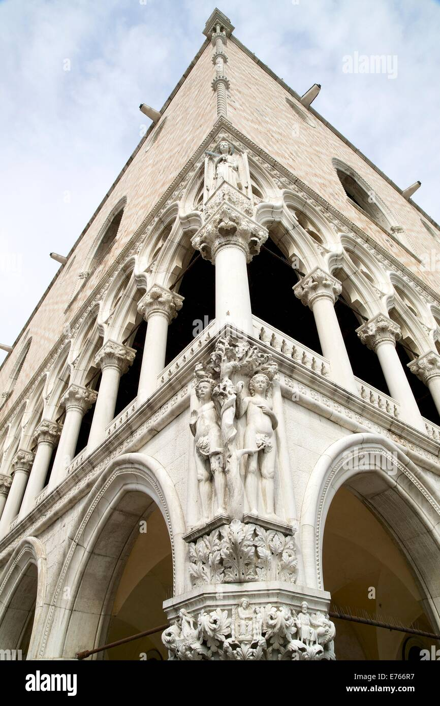 Adam and Eve on corner of the Doge's Palace, Piazza San Marco, Venice, italy, Europe - Stock Image