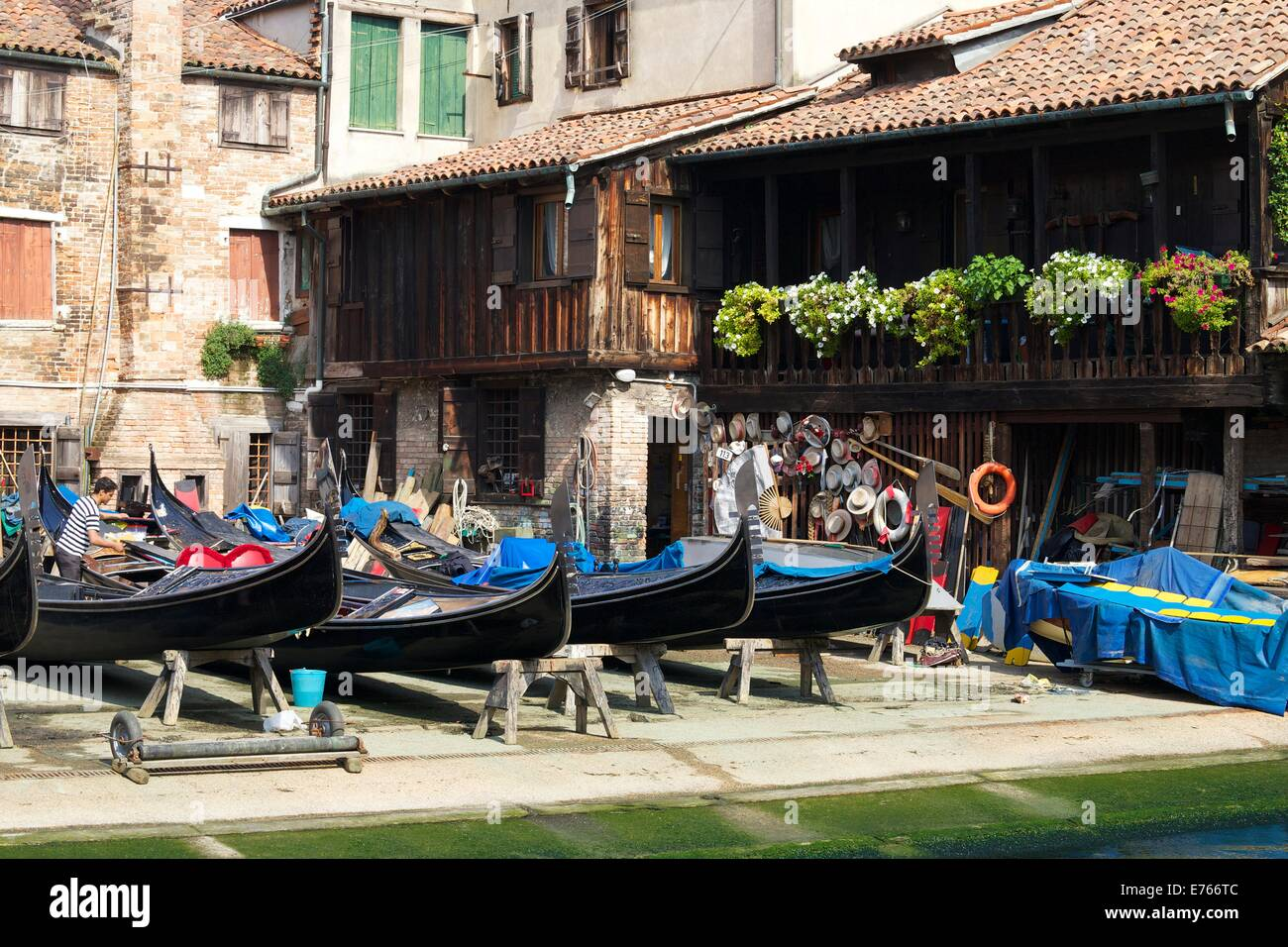 Squero di San Trovaso, Gondola boatyard, Venice, Veneto, Italy, Europe - Stock Image