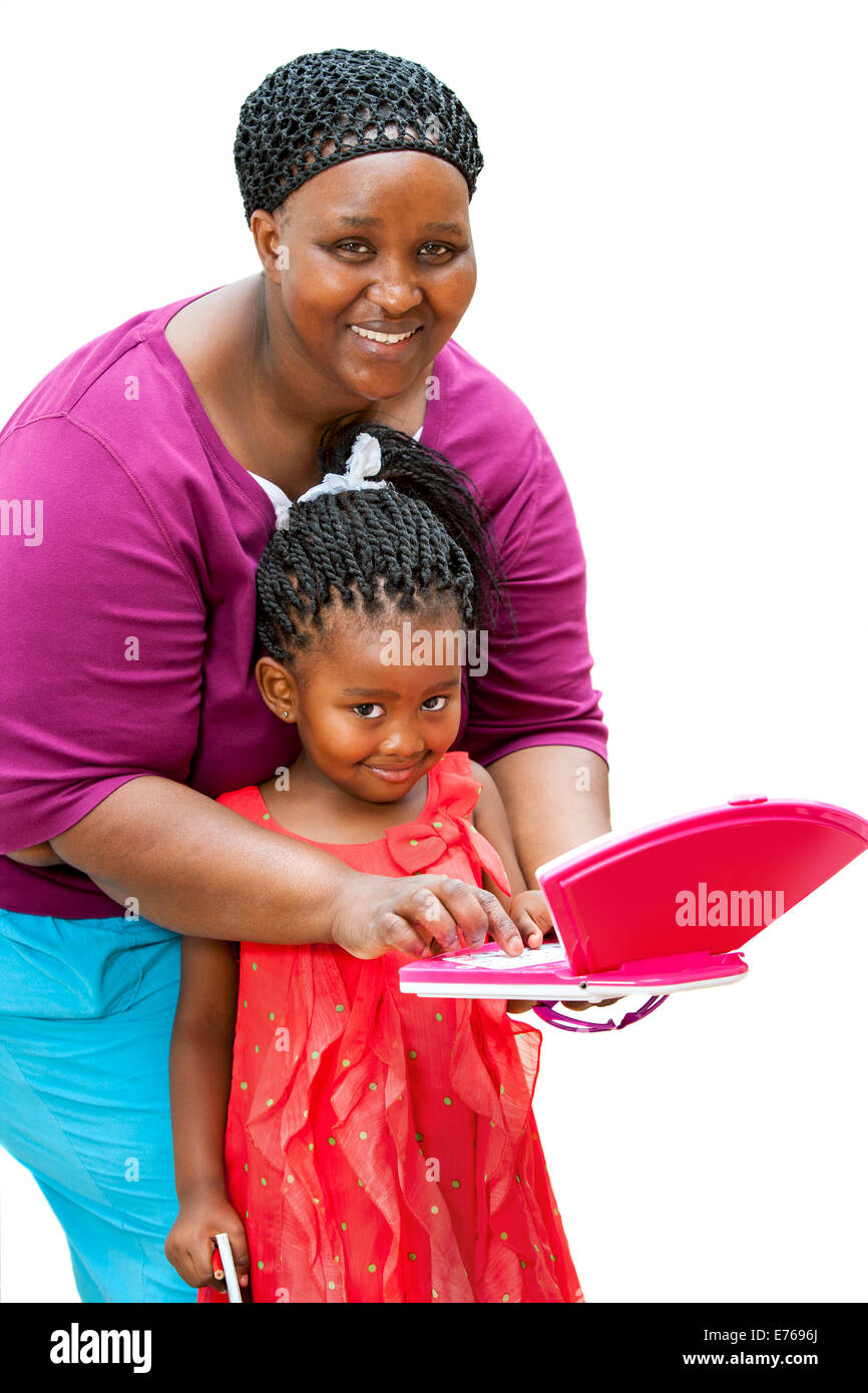 Close up portrait of African tutor helping girl with homework on laptop.Isolated on white background. - Stock Image