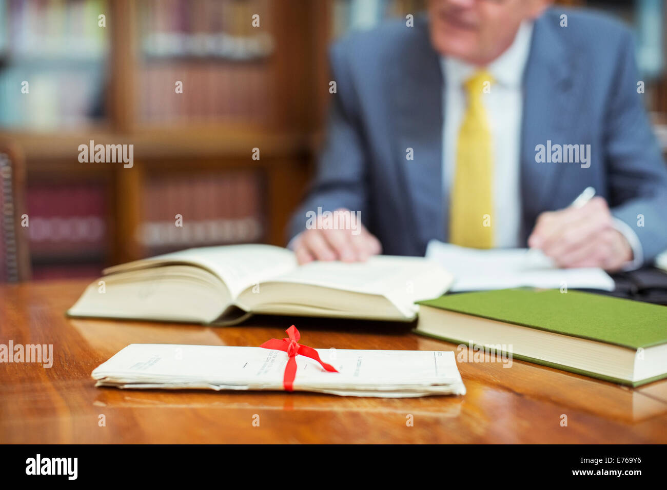 Lawyer researching in chambers - Stock Image