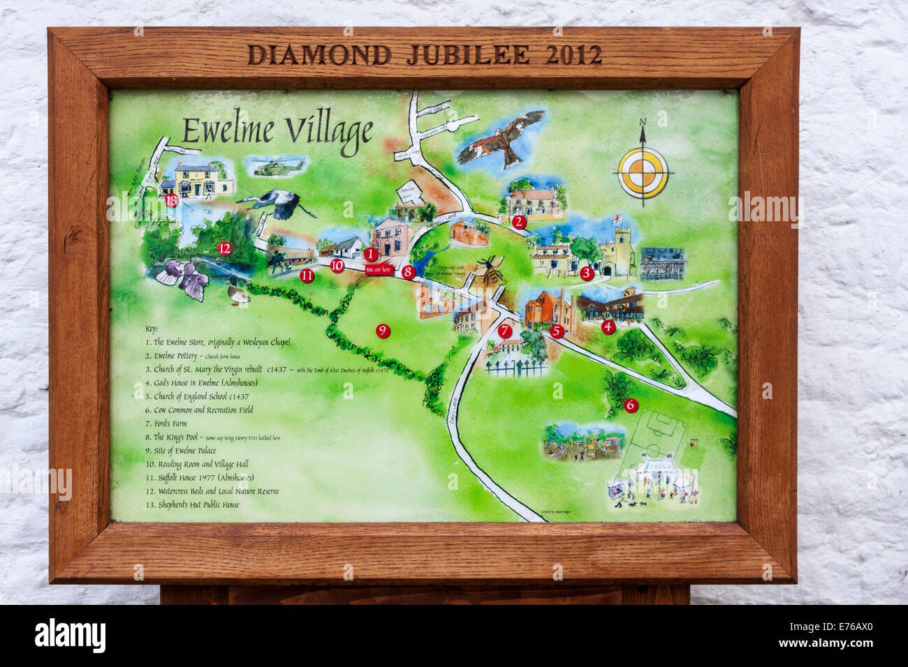 Village Map Of Ewelme Oxfordshire England Gb Uk Stock Photo