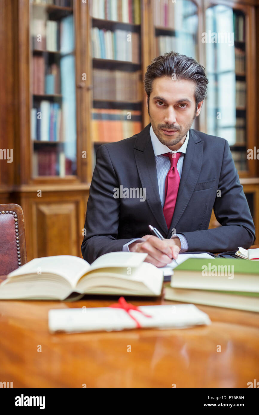 Lawyer doing research in chambers Stock Photo