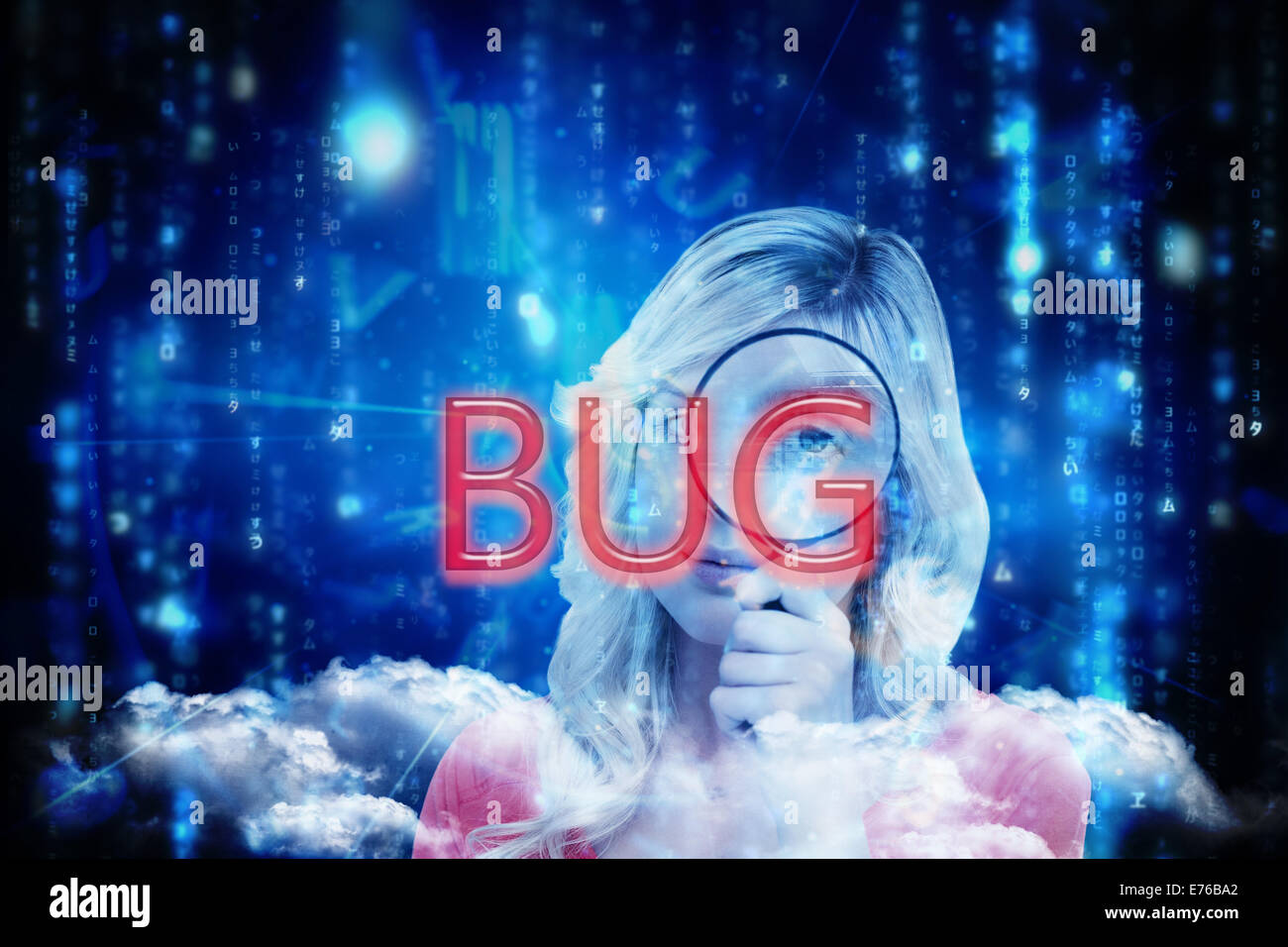 Bug against lines of blue blurred letters falling - Stock Image