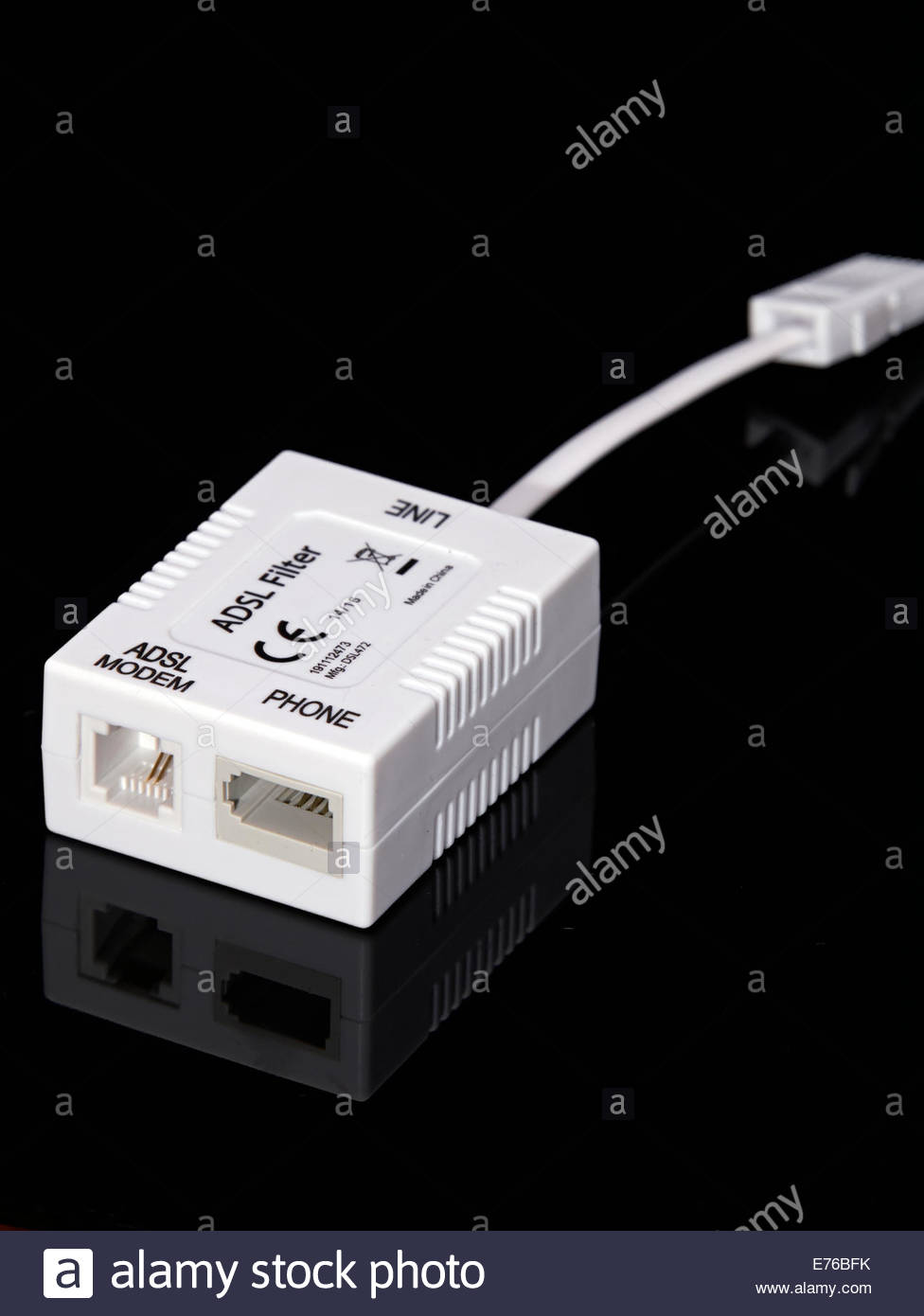 A White Plastic Adsl Modem Telephone Connector For Phone And Stock How To Wire Line On Socket Wiring Connections Broadband