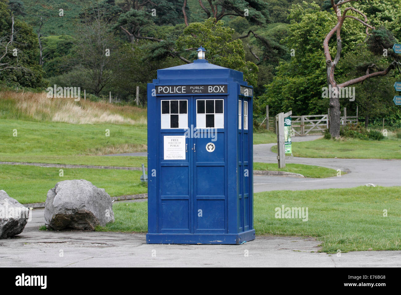 A police box is a British telephone kiosk or callbox located in a public place for the use of members of the police, - Stock Image