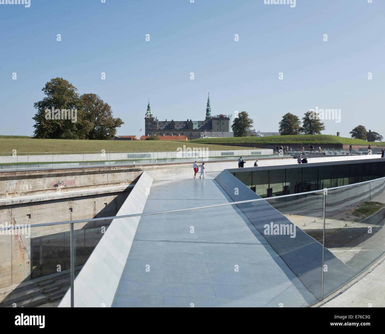 The M/S Maritime Museum of Denmark in Helsingør, Denmark. Kronborg castle in the background. Stock Photo