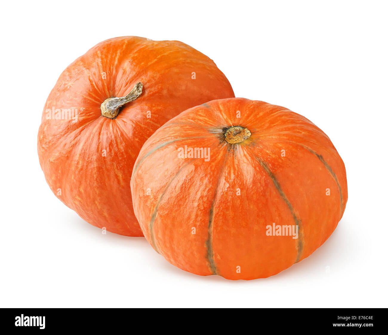 Two pumpkins on white background - Stock Image