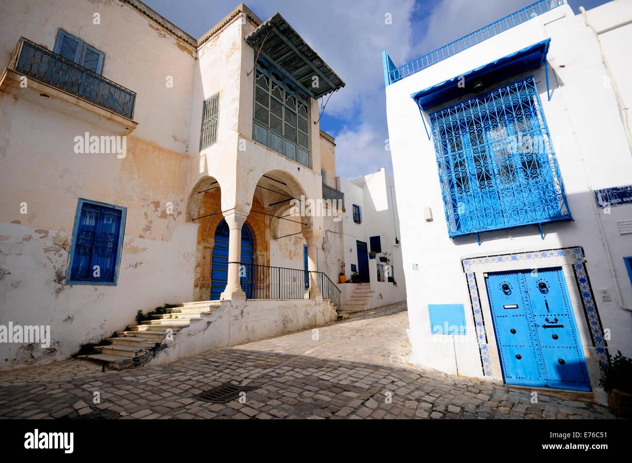 Street of Sidi Bou Said. Sidi Bou Said Andalous village and UNESCO World Heritage near the old Carthage - Stock Image