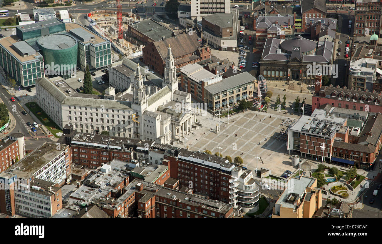 aerial view of Leeds Civic Hall and Civic Quarter, West Yorkshire, UK - Stock Image