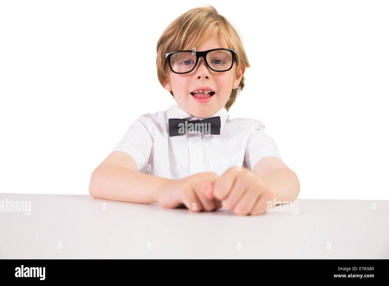 Student wearing glasses and bow tie - Stock Image