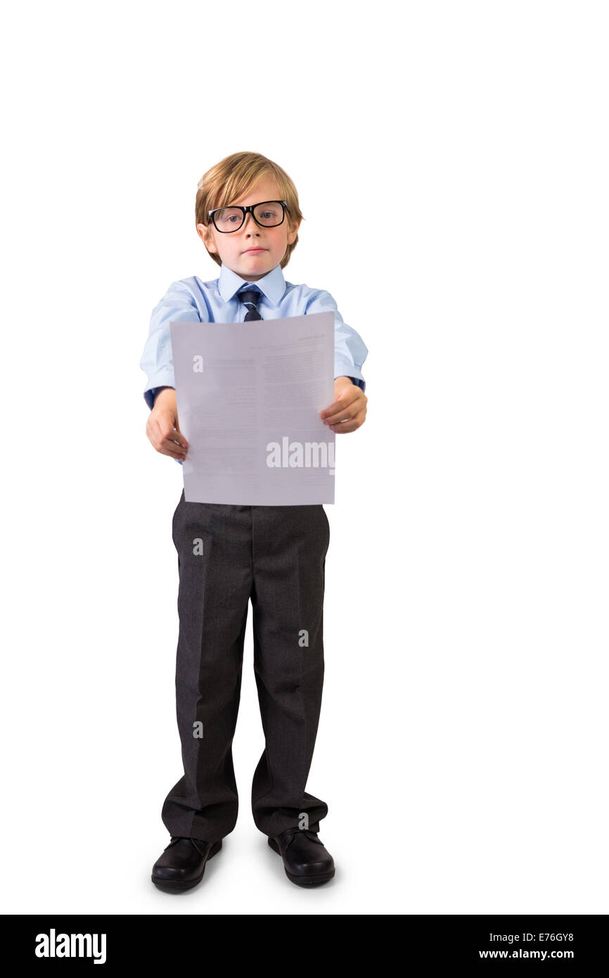 Student holding sheet of paper - Stock Image