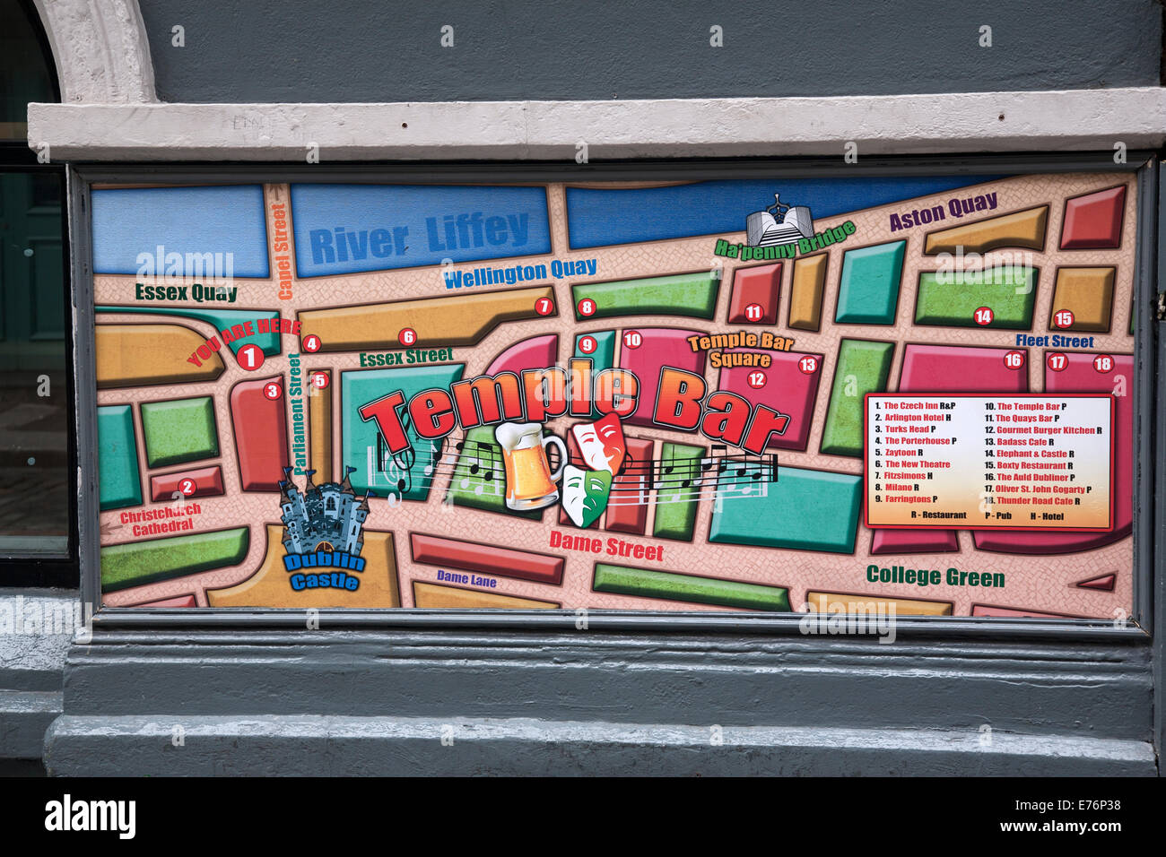 Map Of Dublin 6 Ireland.Temple Bar Map Dublin Ireland Stock Photo 73293116 Alamy