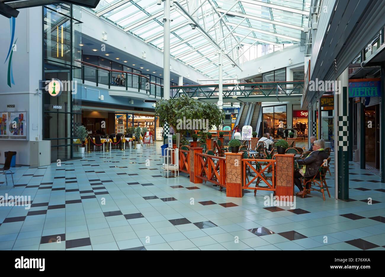 Shopping center Hansa interior in Kouvola, Finland - Stock Image