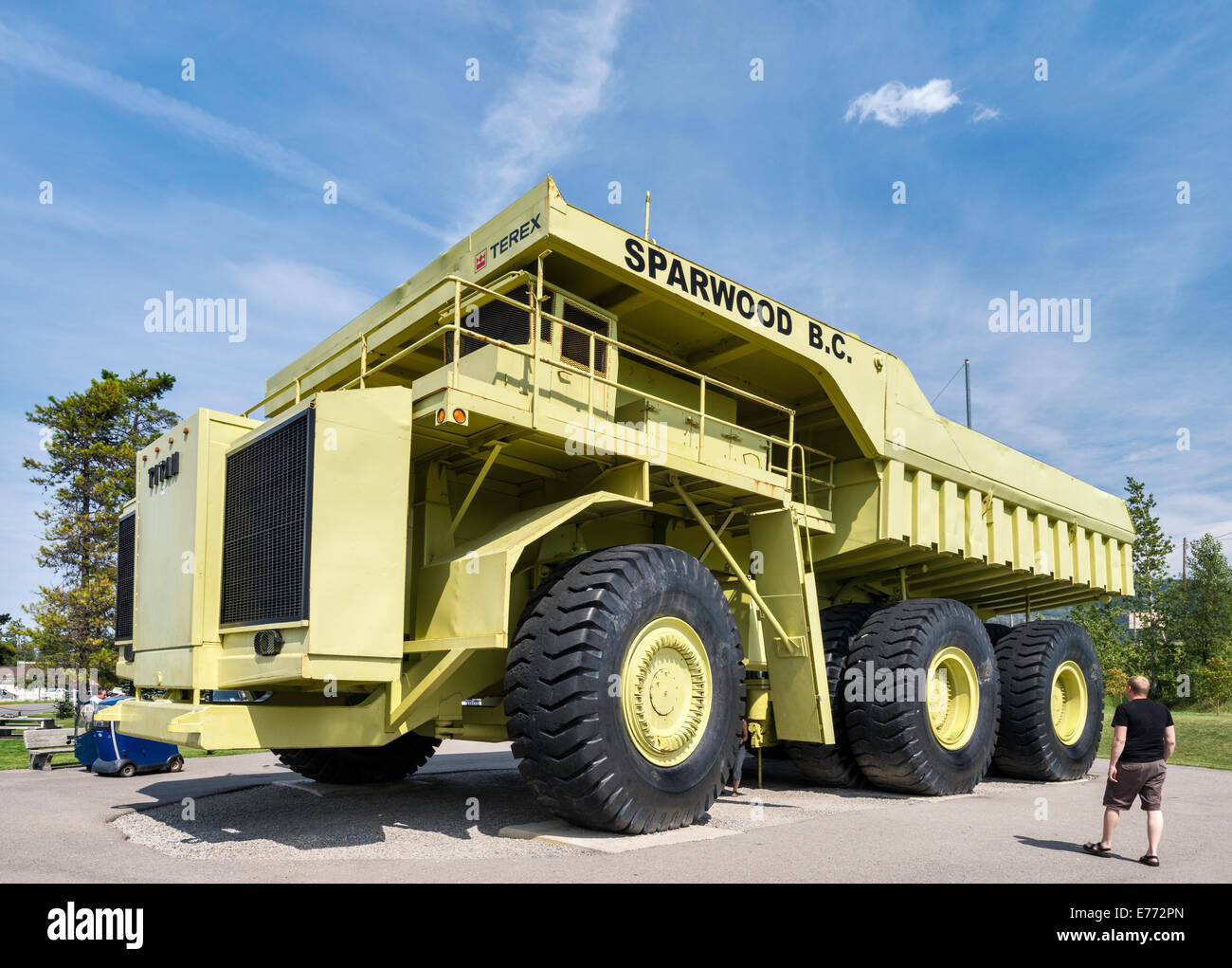 Terex Titan, haul truck for open pit mines, the largest truck in the world, on display in Sparwood, British Columbia, - Stock Image