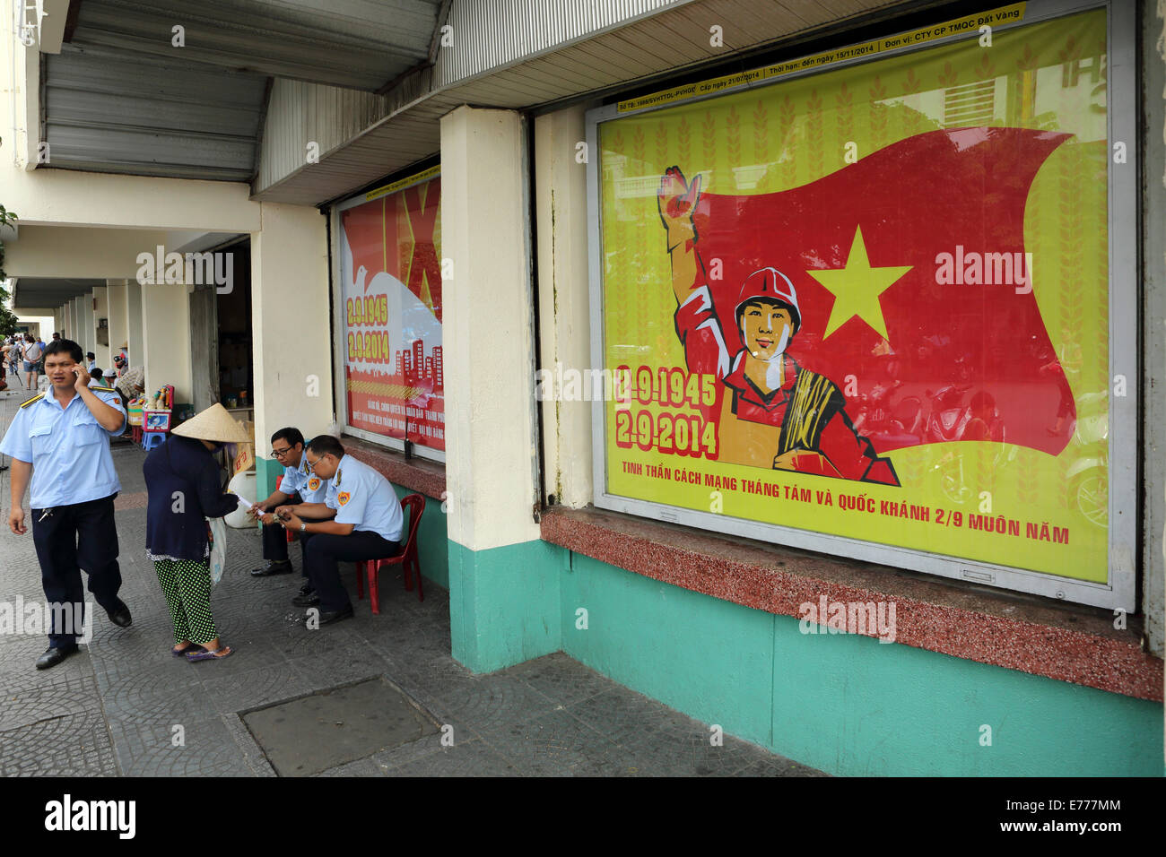 Propaganda posters celebrate 69 years since the declaration of independence of Vietnam. - Stock Image