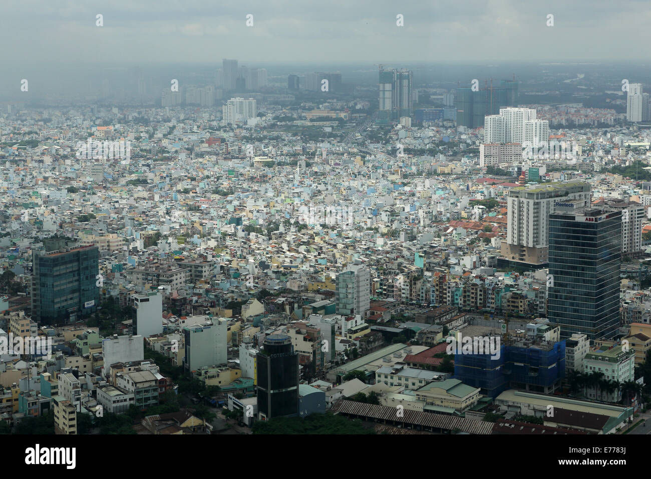 Ho Chi Minh City in Vietnam. The city, formerly known as Saigon, is seen from the viewing platform of Bitexco Tower. - Stock Image