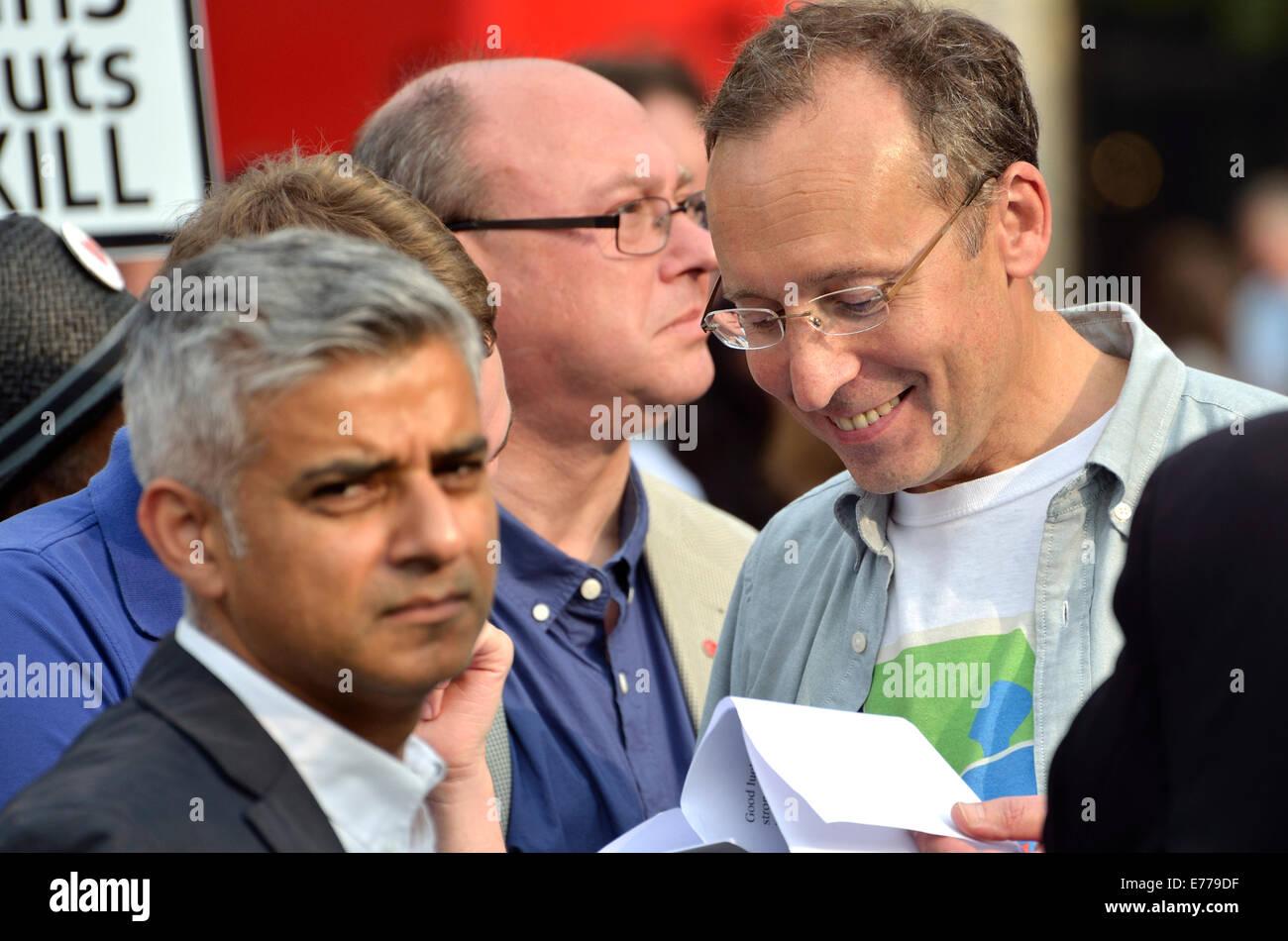 Andy Slaughter MP (Labour, Hammersmith) with Sadiq Khan (Labour, Tooting) and Grahame Morris MP (Labour, Easington) - Stock Image