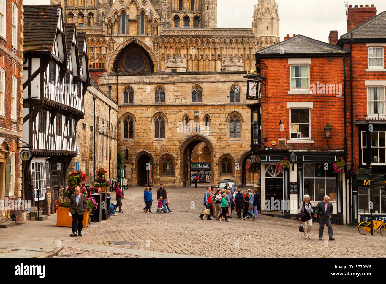 Lincoln medieval city centre; Lincolnshire England UK - Stock Image