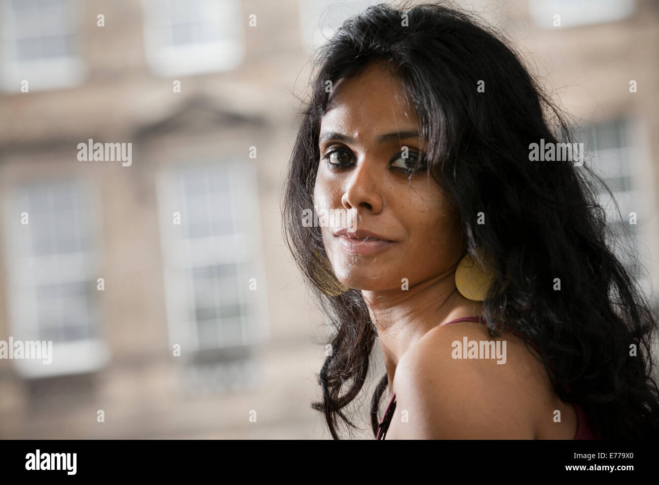 Meena Kandasamy, the Indian poet and fiction writer at the Edinburgh International Book Festival 2014. Edinburgh, - Stock Image