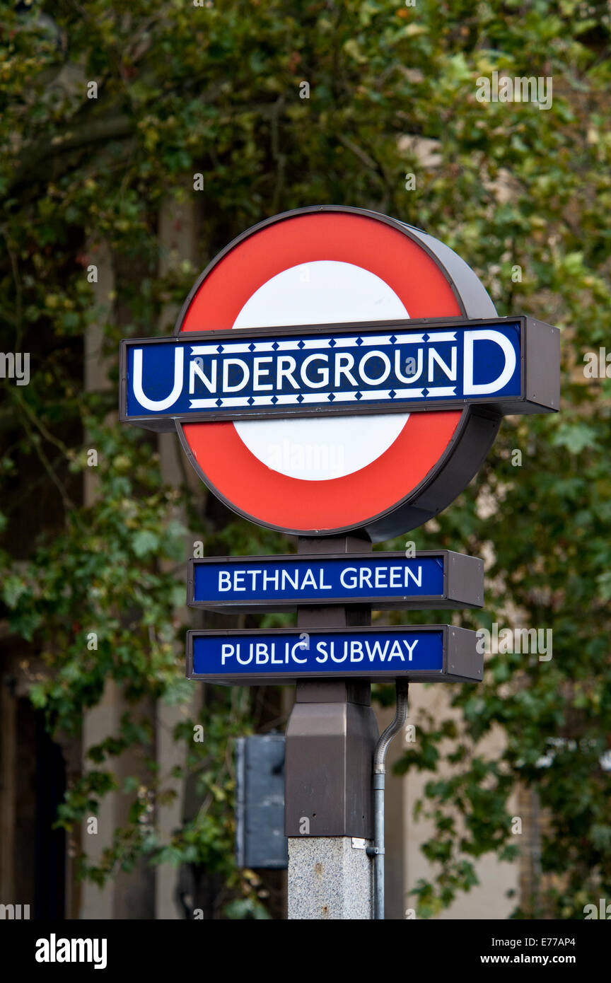 Underground tube station sign Bethnal Green,  East End of London - Stock Image