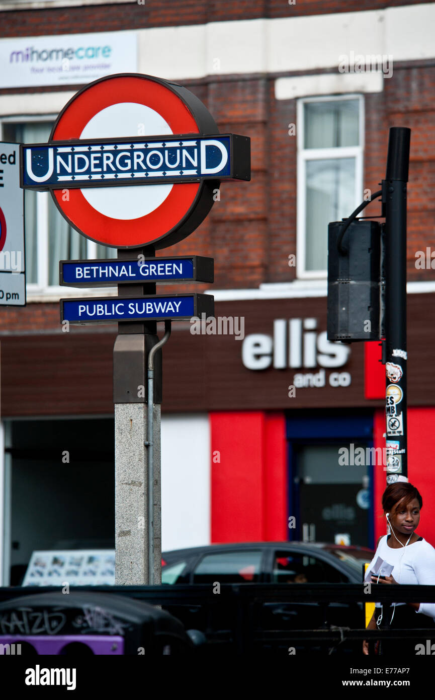 Underground tube station sign in Bethnal Green East End of London - Stock Image