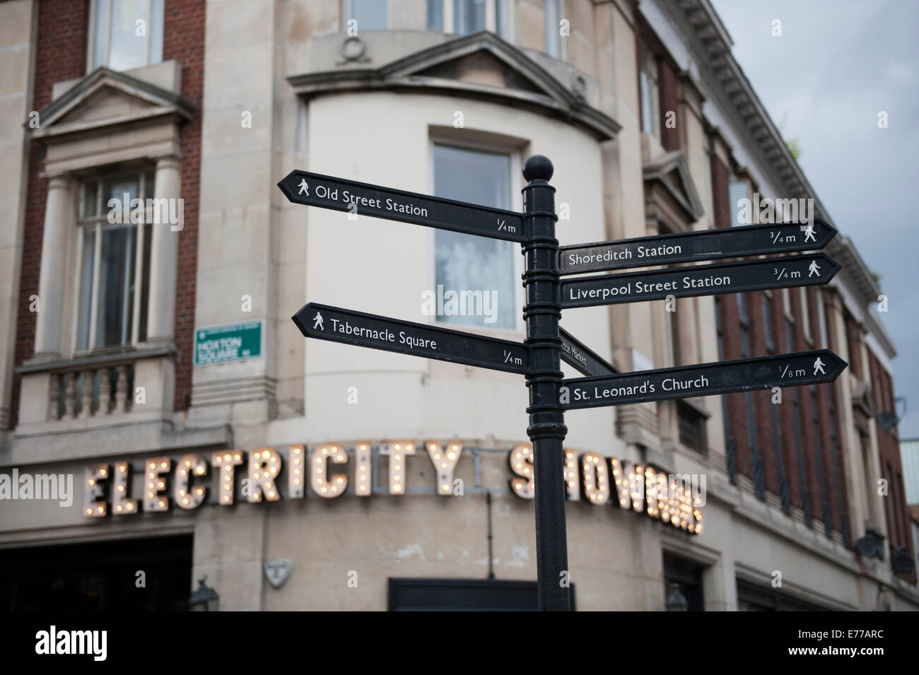 Electricity Showrooms on the corner in Shoreditch Hoxton East End of London - Stock Image