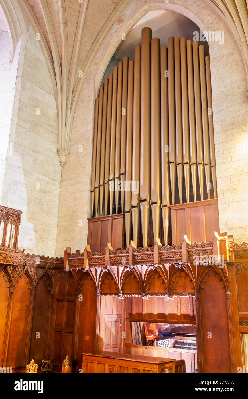 A pipe organ in a church. - Stock Image