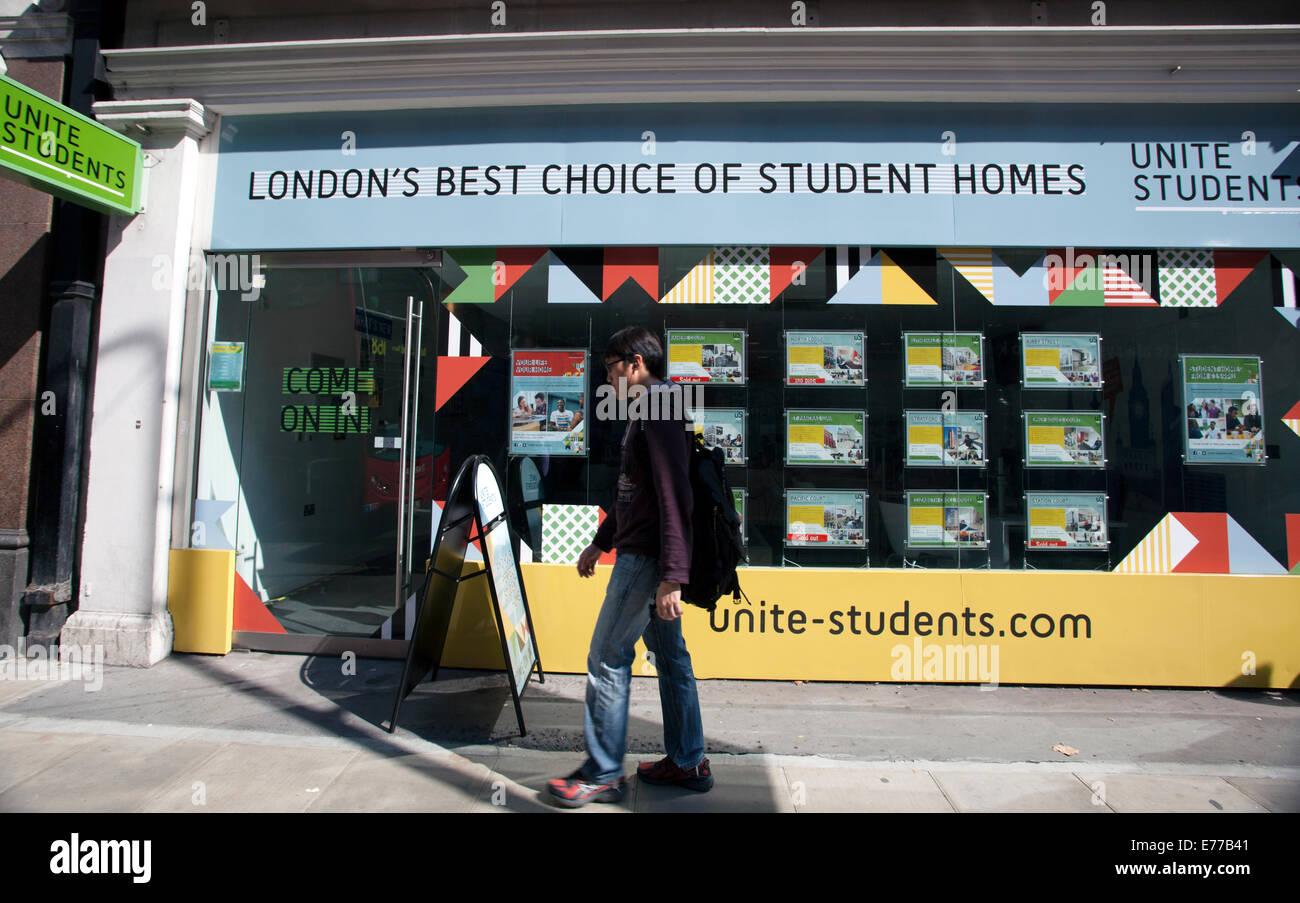 Unite Students accommodation agency, Holborn, London - Stock Image