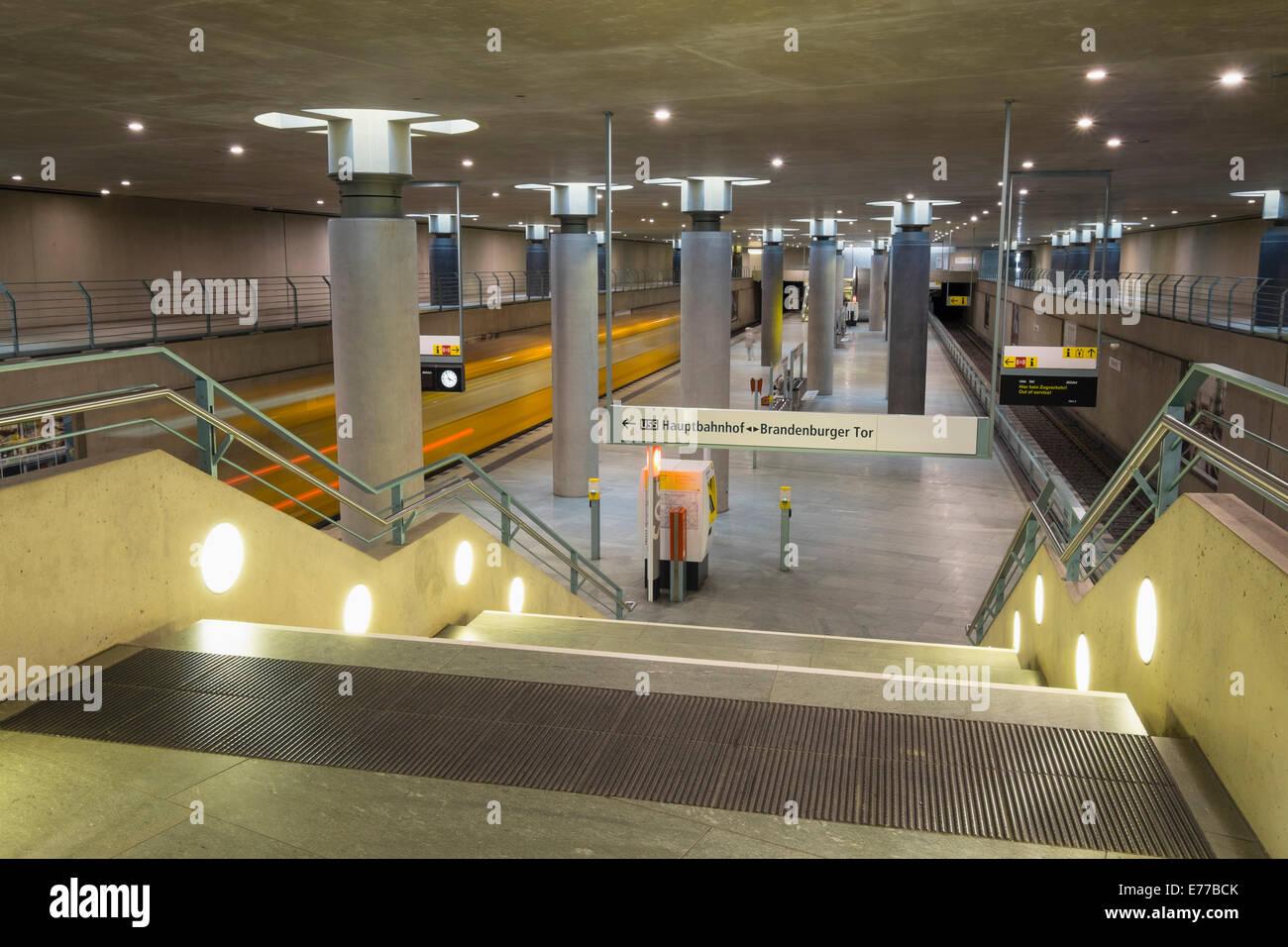 train at platform at Bundestag subway station in Berlin Germany - Stock Image