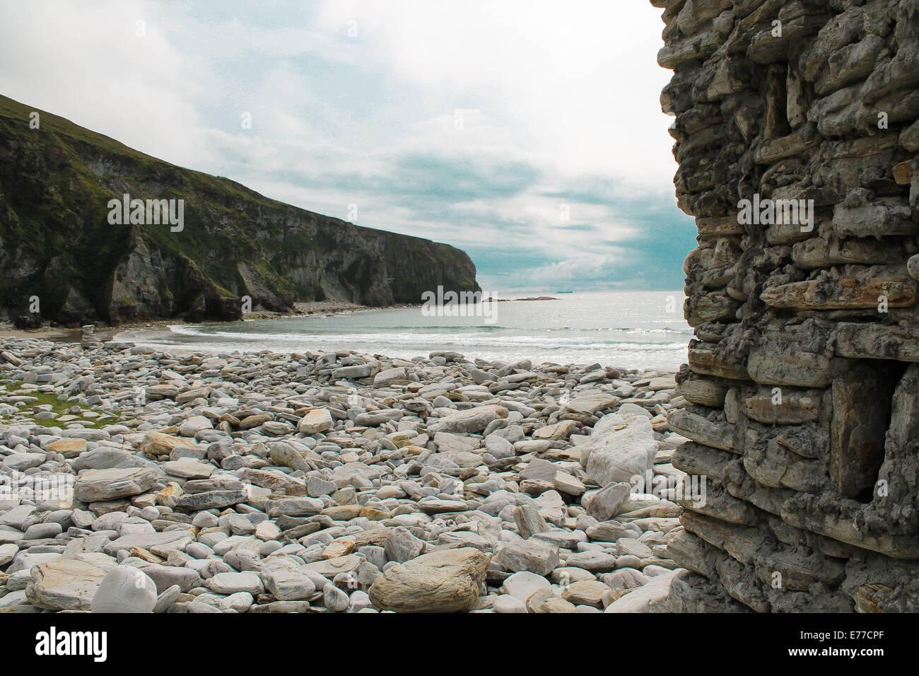 Small Castle Keel Beach, Achill Island, Ireland - Stock Image