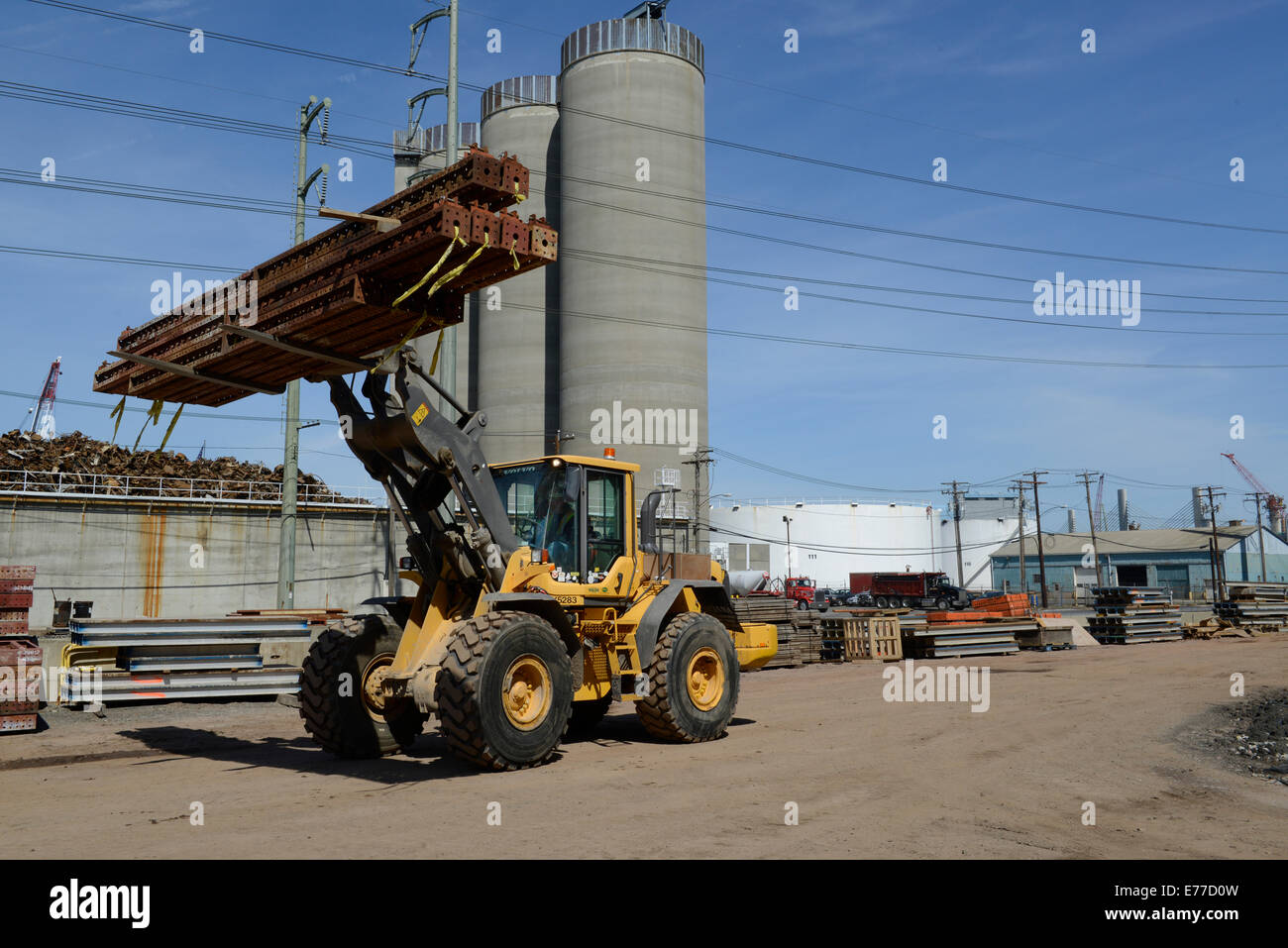 Volvo All terrain or rough terrain forklift at construction site - Stock Image