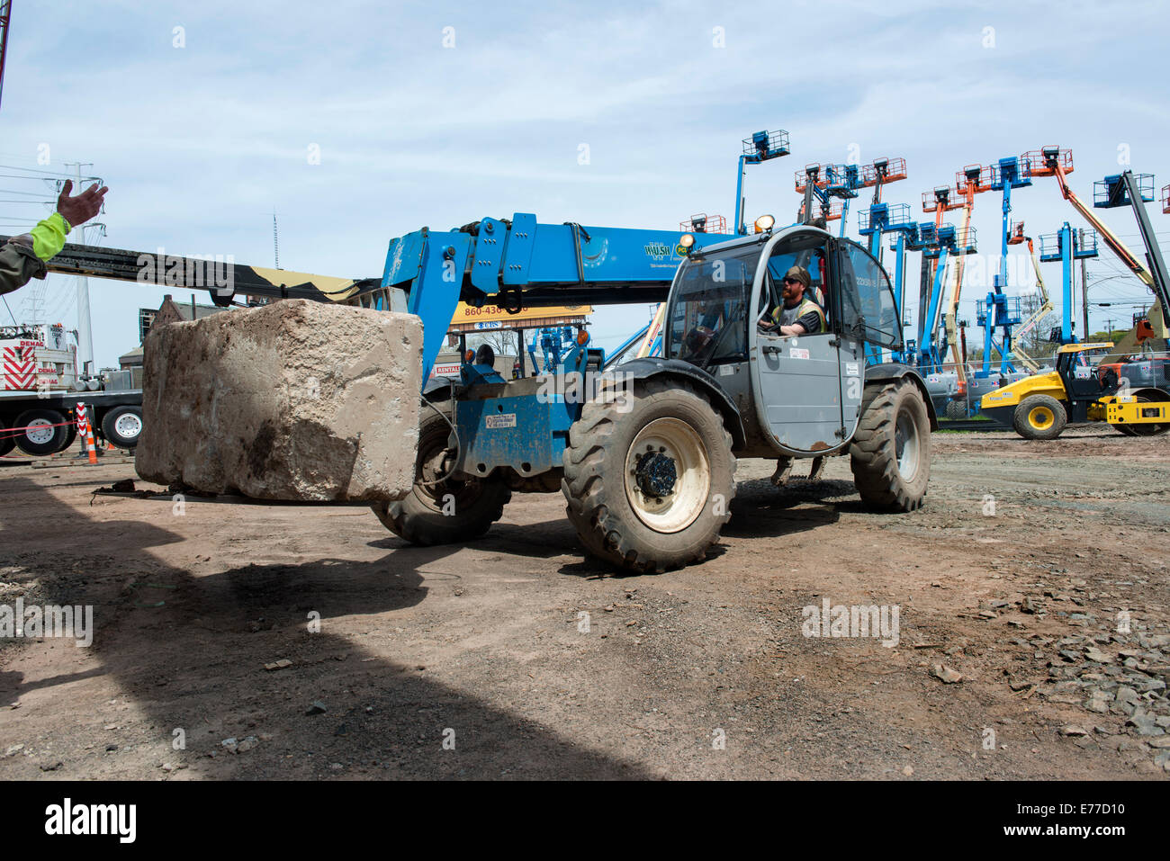 All terrain or rough terrain forklift at construction site at new stock photo 73307948 alamy for Terrain construction