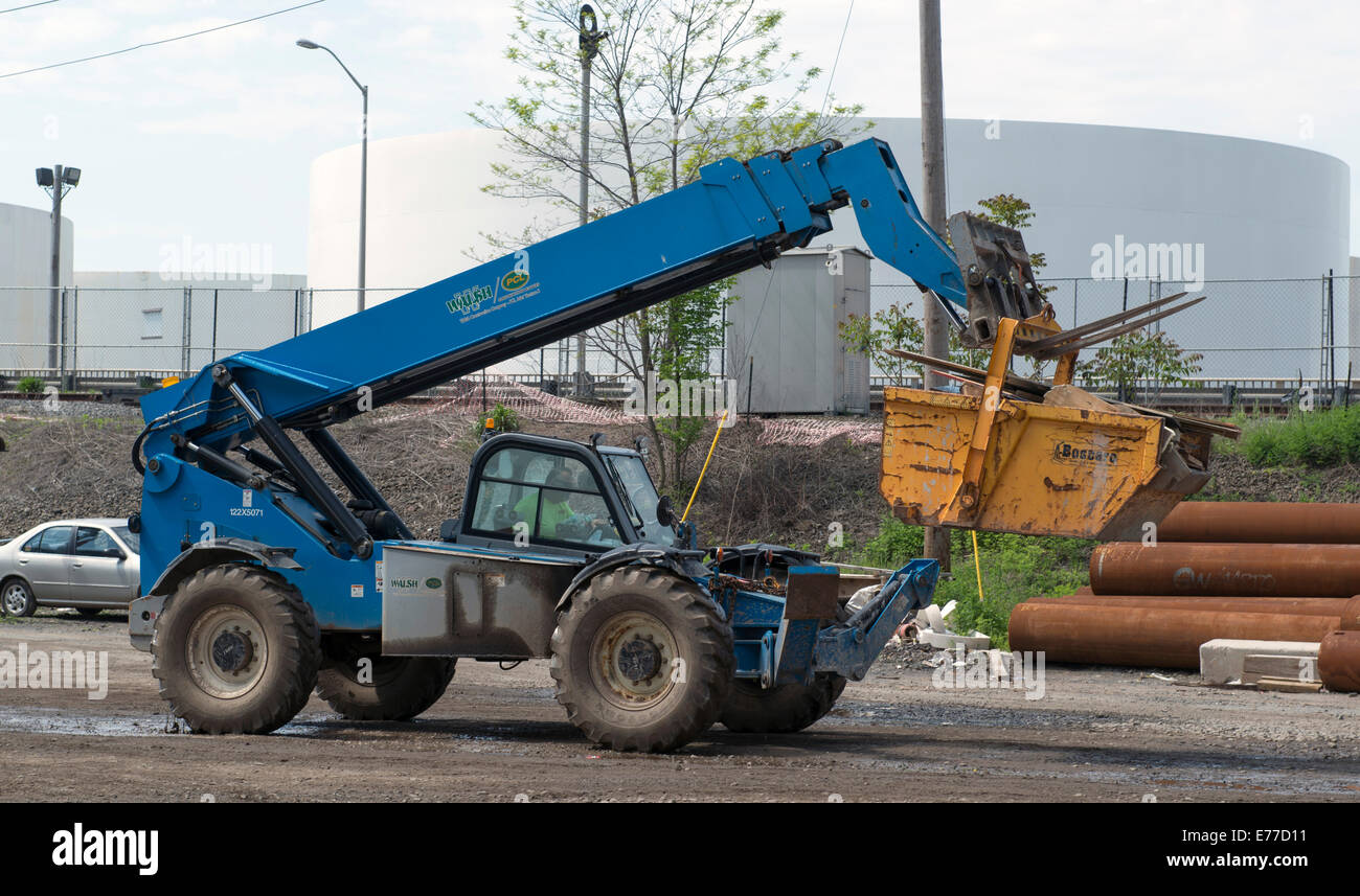 All terrain or rough terrain forklift at construction site at New Haven Harbor Crossing project. - Stock Image